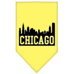 Dog Bandanas: Screen Print Cotton Dog Bandana 'CHICAGO SKYLINE' Different Colors in Small or Large by Mirage USA