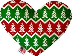 PET TOYS: Soft Velvety Fabric Heart Shape Pet Toy - CHRISTMAS TREES in 3 Patterns/2 Sizes Made in USA by MiragePetProducts