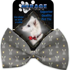 DOG BOW TIE: Decorative & Classy Silky Polyester Bow Tie for Dogs - GRAY BUNNIES