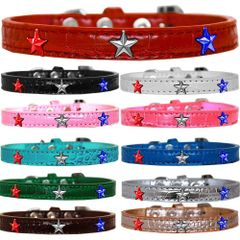 Dog Collars: Cute Dog Collars with Red, White, & Blue STAR Widgets on Croc Dog Collar in Different Colors and Sizes USA