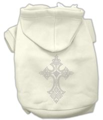 Dog Hoodies: Cute Rhinestone CROSS Design Dog Hoodie by Mirage Pet Products USA