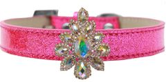 BLING DOG COLLARS: Golden Collection Sofia with AB Crystal on Ice Cream Dog Collar 5 Sizes/4 Colors by MiragePetProducts