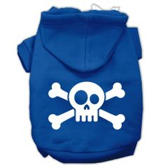Dog Hoodies: SKULL CROSSBONE Screened Print Dog Hoodie in Various Colors & Sizes by Mirage