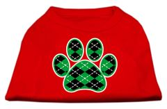 Dog Shirts: ARGYLE PAW GREEN Screen Print Dog Shirt in Various Colors & Sizes by Mirage