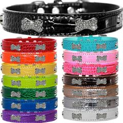 Dog Collars: Faux Croc Dog Collar with CRYSTAL BONES Widgets in Different Colors & Sizes Made in USA by MiragePetProducts