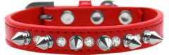 "Spiked Dog Collars: Beautiful 1/2"" Wide Collar One Row Clear Crystals & Silver Spikes on Dog Collar Mirage"
