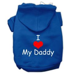 Dog Hoodies: I 'HEART' MY DADDY Screen Print Dog Hoodie in Various Colors & Sizes by MiragePetProducts
