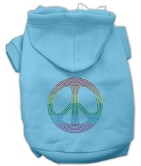 Dog Hoodies: Rhinestone RAINBOW PEACE SIGN Design Dog Hoodie by Mirage Pet Products USA