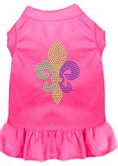 DOG DRESSES: Rhinestone Dress MARDI GRAS FLEUR DE LIS Poly/Cotton with Ruffle Trim Various Colors & Sizes by Mirage