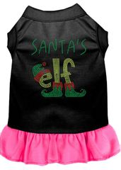 DOG DRESSES: Rhinestone Dress SANTA ELF Poly/Cotton with Ruffle Trim Various Colors & Sizes by Mirage