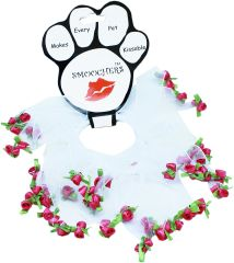 Smoochers Dog Collars: Smoocher Dog Collar in White with Red Roses