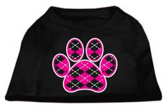Dog Shirts: ARGYLE PAW PINK Screen Print Dog Shirt in Various Colors & Sizes by Mirage