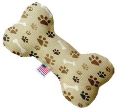 PET TOYS: Stuffing Free Plush Bone Shape Pet Toy with Squeakers MOCHA PAWS & BONES in 3 Sizes Made in USA by MiragePetProducts