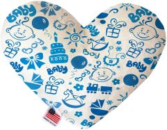 PET TOYS: Soft Velvety Fabric Heart Shape Pet Toy BABY BOY in Two Sizes Made in USA by MiragePetProducts