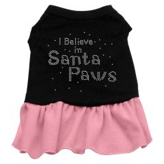 DOG DRESSES: Rhinestone Dress I BELIEVE IN SANTA PAWS Poly/Cotton with Ruffle Trim in Two Colors & Various Sizes by Mirage