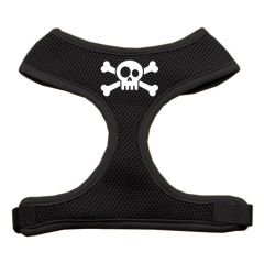 Dog Harnesses: Screen Print - SKULL CROSS BONES Soft Mesh Dog Harness in Several Sizes & Colors USA