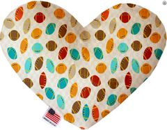 PET TOYS: Soft Velvety Fabric Heart Shape Pet Toy FOOTBALL FRENZY in Two Sizes Made in USA by MiragePetProducts