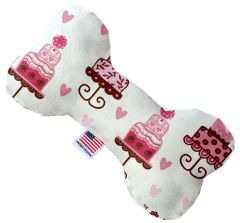 PET TOYS: Stuffing Free Plush Bone Shape Pet Toy with Squeakers PINK FANCY CAKES in 3 Sizes Made in USA by MiragePetProducts