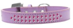 BLING DOG COLLARS: Dog Collar in Various Sizes & Colors by Mirage - TWO ROWS BRIGHT PINK CRYSTALS