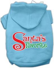 Dog Hoodies: SANTA'S FAVORITE Screen Print Dog Hoodie in Various Colors & Sizes by MiragePetProducts