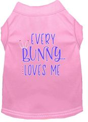 Dog Shirts: Cute EASTER Screen Print Dog Shirt in Various Colors & Sizes by MiragePetProducts - EVERY BUNNY LOVES ME