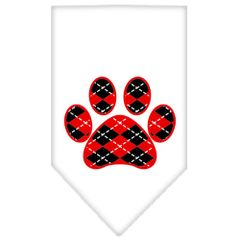 Dog Bandanas: Screen Print 'ARGYLE PAW RED' Cotton Dog Bandanas by Mirage