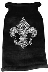 Dog Sweaters: Rhinestone SILVER FLEUR DE LIS Acrylic Knit Dog Sweater in Different Colors & Sizes - Mirage