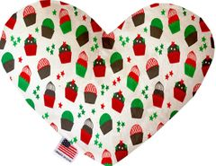 PET TOYS: Soft Velvety Fabric Heart Shape Pet Toy - CHRISTMAS in Eight Patterns/Two Sizes Made in USA by MiragePetProducts