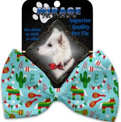 DOG BOW TIE: Decorative & Classy Silky Polyester Bow Tie for Dogs - TURQUOISE FIESTA