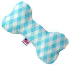 PET TOYS: Stuffing Free Plush Bone Shape Pet Toy with Squeakers PLAID in 3 Sizes/6 Colors Made in USA by MiragePetProducts