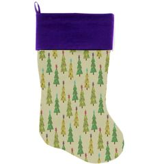 "DOG CHRISTMAS STOCKING: High Quality Velvet 18"" Long Christmas Dog Stocking - CUTESY CHRISTMAS TREES"