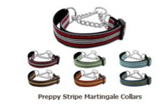 Martingale Dog Collars: Nylon Ribbon Dog Collar Mirage Pet Products - PREPPY STRIPES