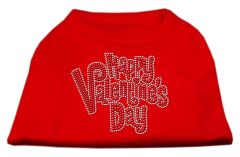 Dog Shirts: HAPPY VALENTINE'S DAY Rhinestone Dog Shirt in Various Colors & Sizes by Mirage