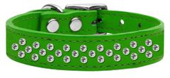 Leather Dog Collars: Leather Jeweled Dog Collar by Mirage - SPRINKLES CLEAR CRYSTALS