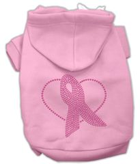 Dog Hoodies: PINK RIBBON Rhinestone Dog Hoodie by Mirage Pet Products USA
