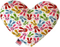 PET TOYS: Soft Velvety Fabric Heart Shape Pet Toy FUNNY BUNNIES in Two Sizes Made in USA by MiragePetProducts