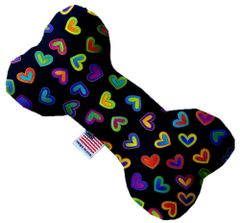 PET TOYS: Stuffing Free Plush Bone Shape Pet Toy with Squeakers BRIGHT HEARTS in 3 Sizes Made in USA by MiragePetProducts