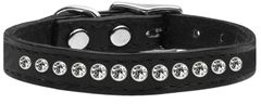 Leather Dog Collars: Genuine Leather Jeweled Dog Collar by Mirage - ONE ROW AB CRYSTALS