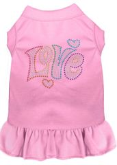 DOG DRESSES: Rhinestone Dress TECHNICOLOR LOVE Poly/Cotton with Ruffle Trim Various Colors & Sizes by Mirage