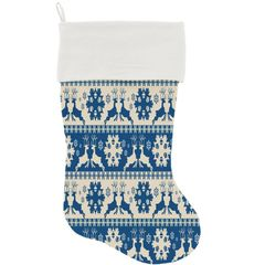 "DOG CHRISTMAS STOCKING: High Quality Velvet 18"" Long Christmas Dog Stocking - BLUE REINDEER"