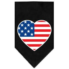 Dog Bandanas: Screen Print Dog Bandana 'AMERICAN FLAG HEART' Different Colors in Small or Large by Mirage USA