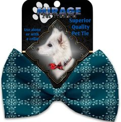 DOG BOW TIE: Decorative & Classy Silky Polyester Bow Tie for Dogs - BLUE FLOWERS