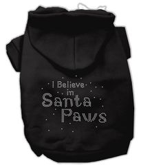 Dog Hoodies: Rhinestone I BELIVE IN SANTA PAWS Dog Hoodie by Mirage Pet Products USA