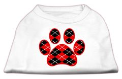 Dog Shirts: ARGYLE PAW RED Screen Print Dog Shirt in Various Colors & Sizes by Mirage