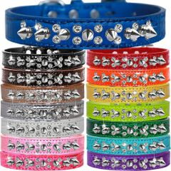 Dog Collars: Faux Croc Dog Collar with Double Row Crystals & Silver Spikes in 5 Different Sizes & 15 Color Choices. Made in USA