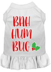 DOG DRESSES: Screen Print Dress BAH HUM BUG Poly/Cotton with ruffle trim Various sizes & Colors Made in USA by MiragePetProducts