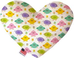 PET TOYS: Soft Velvety Fabric Heart Shape Pet Toy EASTER CHICKADEES in Two Sizes Made in USA by MiragePetProducts