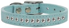 Leather Dog Collars: Leather Jeweled Dog Collar by Mirage - ONE ROW CLEAR CRYSTALS