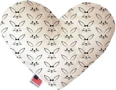 PET TOYS: Soft Velvety Fabric Heart Shape Pet Toy BUNNY FACE in Two Sizes Made in USA by MiragePetProducts