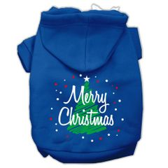 Dog Hoodies: Scribbled MERRY CHRISTMAS Screened Print Dog Hoodie in Various Colors & Sizes by Mirage